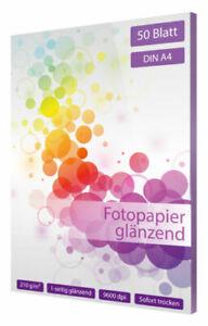 50-Blatt-Fotopapier-DIN-A4-210-g-glaenzend-glossy-weiss-fuer-Tintenstrahldrucker