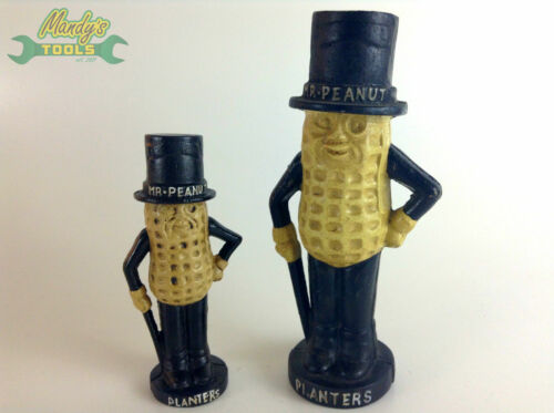 SET of 2 Cast Iron Peanut Planters Coin Money Box Piggy Bank Daddy & Baby MT30
