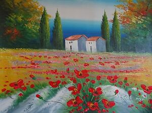 Enticing-Red-Poppies-Field-Great-Quality-Oil-Painting-On-Canvas-24x20-In-Signed