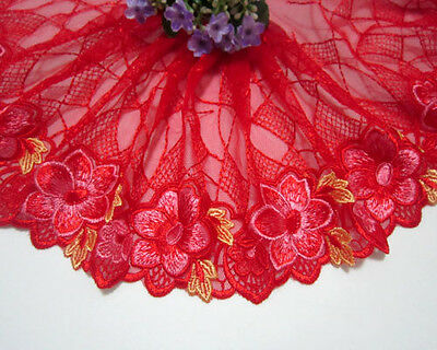 "7.5""*1yard Embroidery Flower Red Tulle Lace Trim~Yellow"