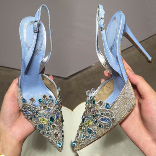Womens Rhinestone High Heel Pointy Toe Pumps Slingback Wedding Party Sandals New