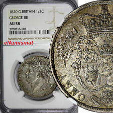 Great Britain George IV Silver 1820 1/2 Half Crown NGC AU58 Royal Mint KM# 676