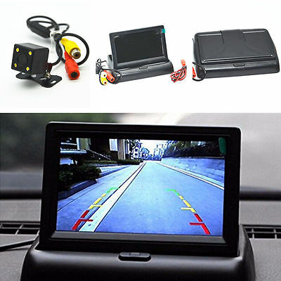 "Car Suv Rear View 4.3"" Foldable Monitor 4led Night Vision Reverse Parking Camera Rear View Monitors/cams & Kits"