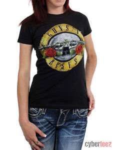 GUNS-N-ROSES-T-Shirt-Bullet-Distressed-Womens-OFFICIALLY-LICENSED-GNR-S-XL