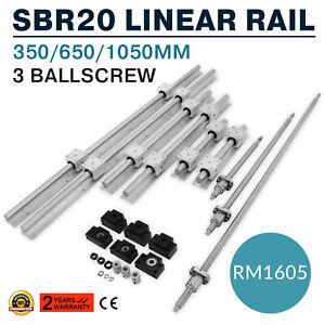 US-SBR20-Linear-Rail-Set-3-Ball-screw-RM1605-350-650-1050-BK-BF12-Coupler-CNC