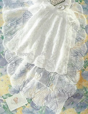 Baby Heirloom Christening Robe and Shawl Shell edges Knitting Pattern 3ply 143