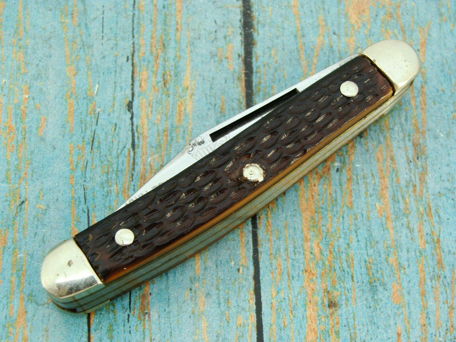 VINTAGE JOHN PRIMBLE USA 5380 FOLDING STOCKMAN JACK POCKET KNIFE BOKER KNIVES