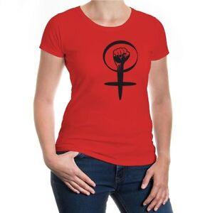 Damen Kurzarm Girlie T-Shirt Powerfrau-Symb<wbr/>ol Stärke Geschlecht Muttertag Faust