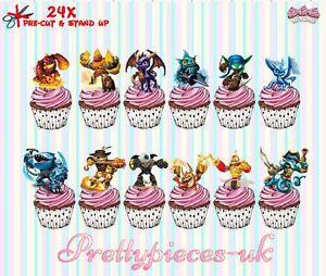 Skylander 24 StandUp PreCut Wafer Paper Cup cake Toppers eBay