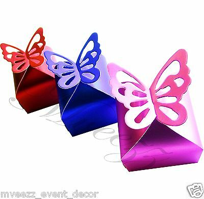FAVOUR BOXES LUXURY METALLIC BUTTERFLY WEDDING GIFT SWEETS TABLE DECORATION UK