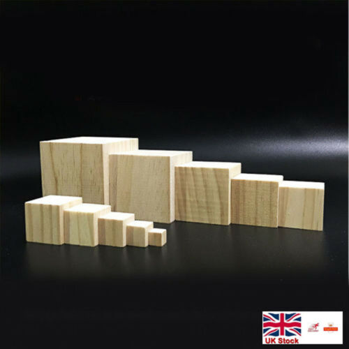 DIY Wooden Craft Supplies Blocks Wood Cubes Hardwood 10mm-75mm Pine Minecraft