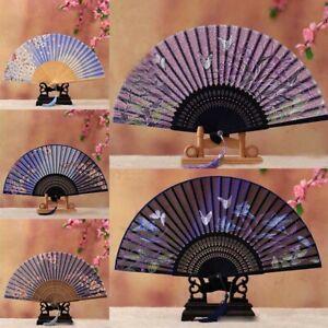 Chinese Lace Silk Flower Folding Hand Held Dance Fan Party Wedding Women Gift BP