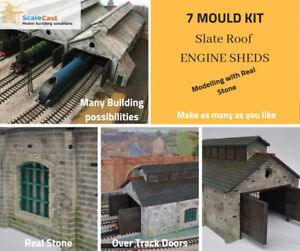 Model-Railway-Engine-Shed-7-Mould-Kit-Corrugated-Steel-Roof-Version-OO-Gauge