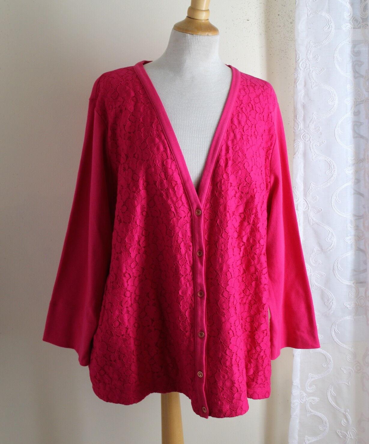 Jones New York Sz 3X Fuchsia Rosa Art-to-Wear Lace Overlay Cardigan Shirt Jacket