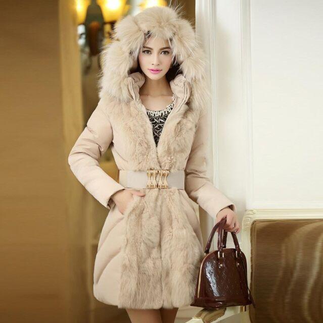 Women Winter Fur Collar Down Cotton Coat Hooded Jacket Slim Long Parka Outwear
