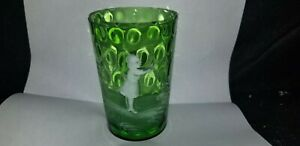 ANTIQUE-MARY-GREGORY-ART-GLASS-GREEN-INVERTED-THUMBPRINT-TUMBLER