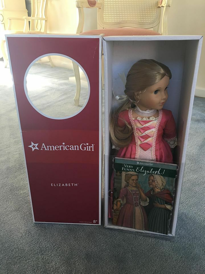 American Girl Doll Elizabeth With Book and Pierced Ears New