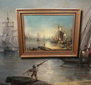 Antikes-Seestueck-Olgemaelde-Alter-Meister-suedliche-Hafenszene-mit-Segelschiffen