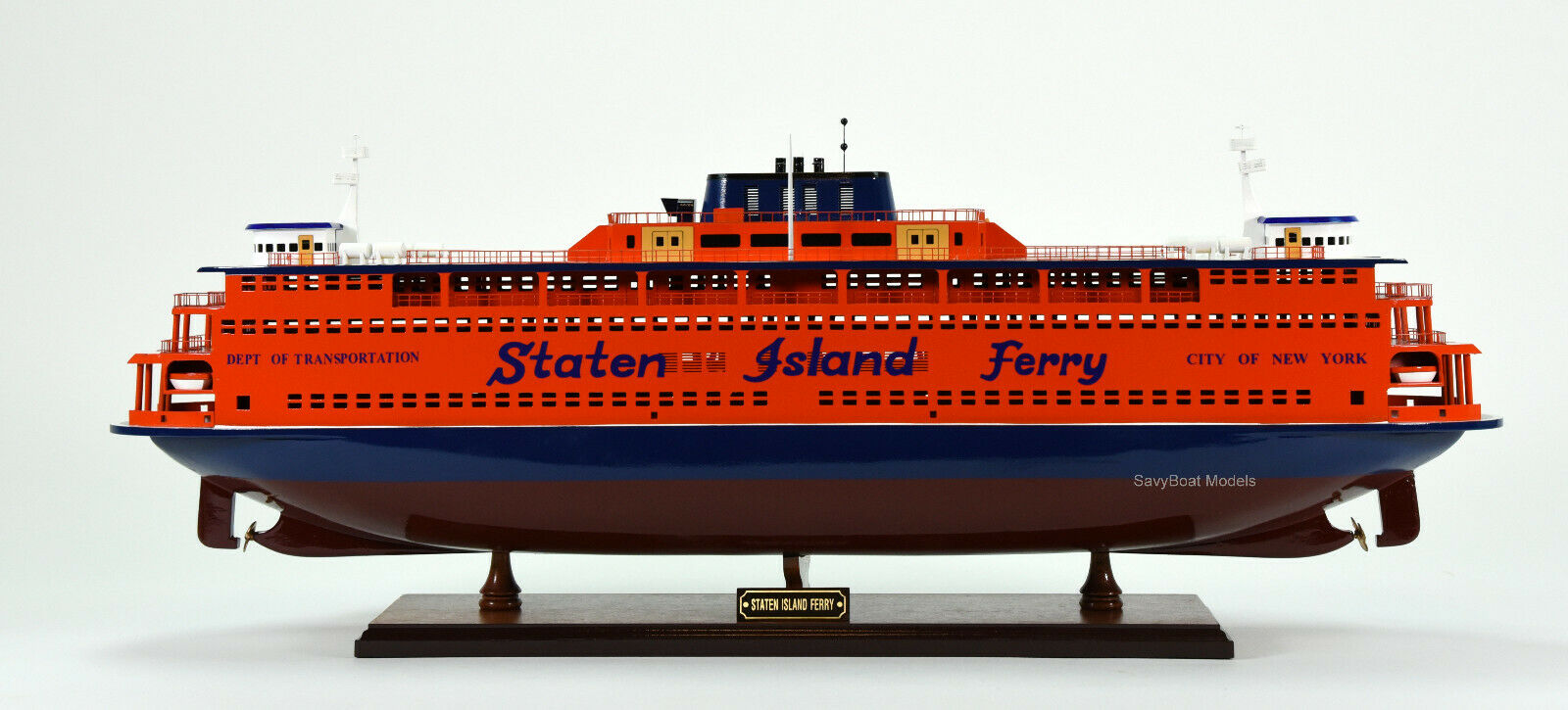 Staten Island Ferry Boat Wooden Model 32 Handmade Statue Of Liberty Ship