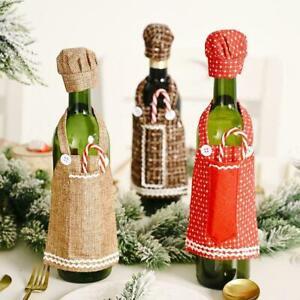 1 3pcs Christmas Red Wine Bottle Covers Bag Lace Apron Wine Cover Bottle Au I9n6 Ebay