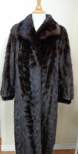 Women's Sz 10  MINT++ Dark Ranch Canadian Real Mink Fur Coat Sale