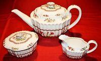 Copeland Spode Rosalie Tea Pot Teapot, Sugar Bowl with Lid and Creamer - MINT