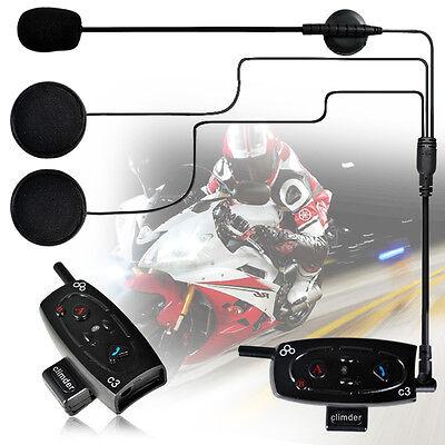 2 X Sets 1000M Interphone Motorbike Motorcycle Helmet Bluetooth Intercom&Headset