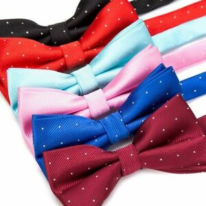 Butterfly-Style-Men-Bow-Tie-Polyester-Solid-Dot-Pattern-For-Boys-And-Girls-Wear