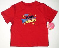 Infant Boy's My Mom Rocks Red T-shirt Mother's Day Size 24m Guitar Crew Tee