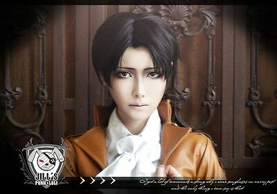 japan anime manga attack on titan Levi Survey Corps cosplay costume wig JPLH018