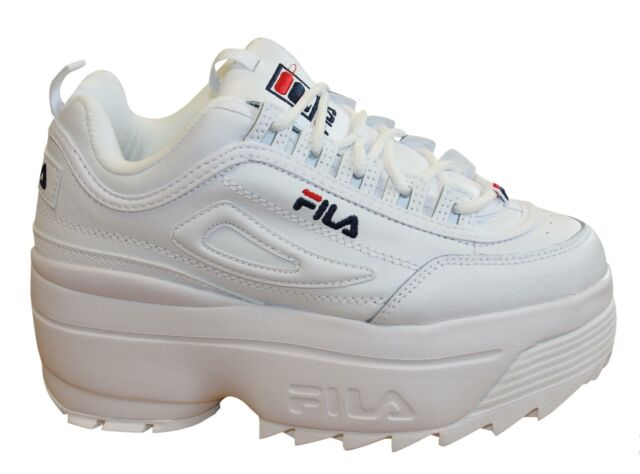 Womens Fila Disruptor 2 II Wedge White Athletic Shoe NEW Platform