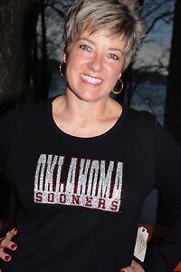 324e22a07 Image is loading Oklahoma-Sooners-rhinestone-glitter-bling-shirt-XS-S-M-L-