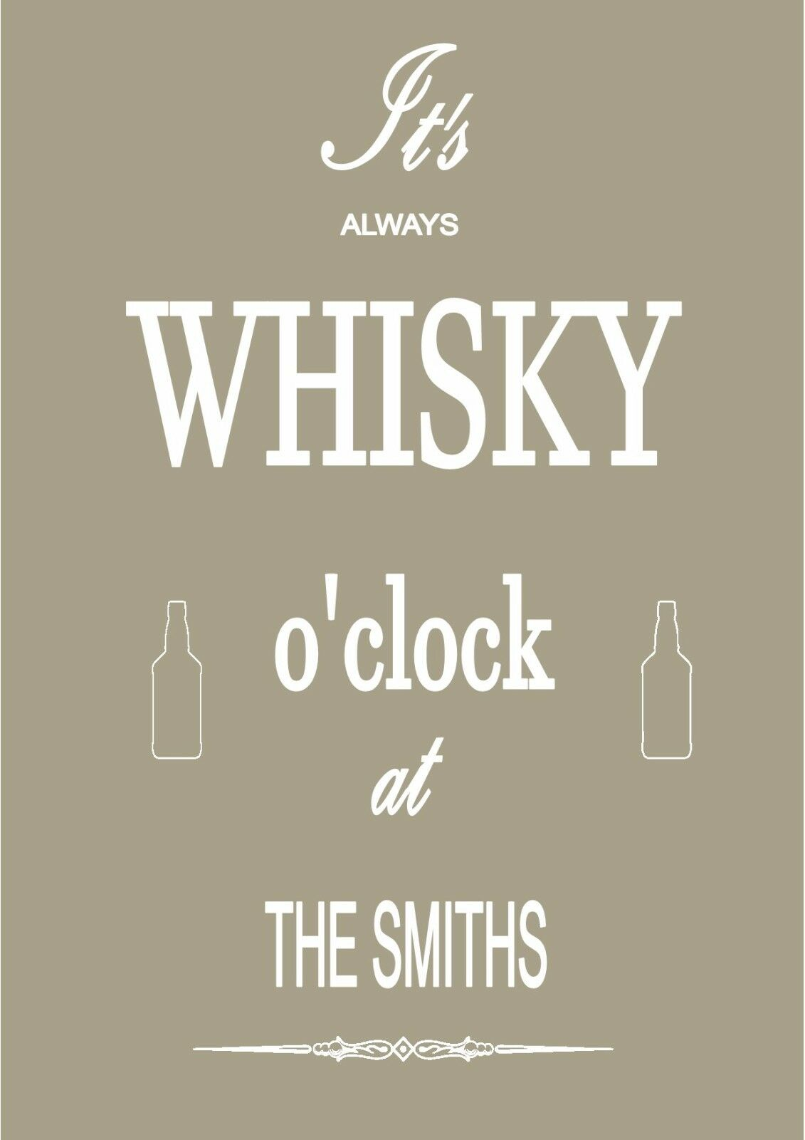 Personalizado 'Whisky O' CLOCK 'A4 vibrante impresión (Sin marco) Fiesta, Cumpleaños