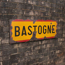 WW2 Bastogne Road Sign - Belgian Repro Army Wall Plaque - Military - Steel  Aged