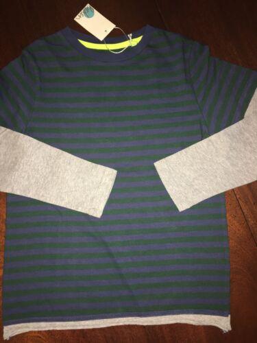 NWT Mini Boden 5//6 or 7//8 Faux Layered Tee Purple /& Green Striped w// Gray Sl