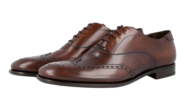 AUTH LUXURY PRADA  FULL BROGUE WINGTIP scarpe 2EB157 Marronee US 10 EU 43 43,5