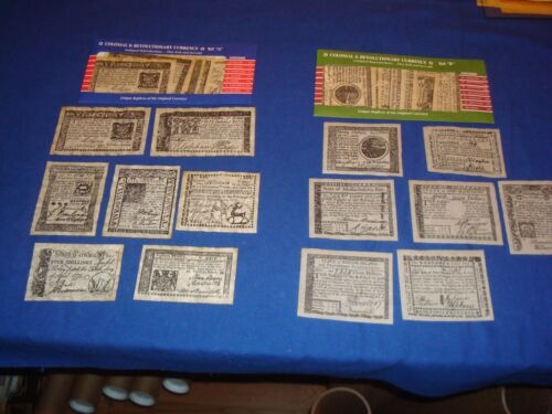 Colonial and Revolutionary Currency 14 pcs. Set A /& B Reproductions