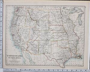 Map Of Western Texas.Details About 1889 Large Antique Map United States North America Western Texas Utah Wyoming