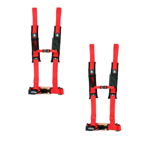 "Pro Armor 4 Point Harness 2/"" Pads Seat Belt PAIR RED Can Am Commander 800 1000"