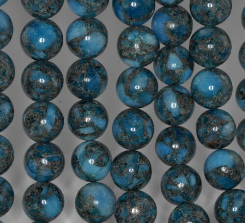 "14MM DARK BLUE LAGOON  PYRITE INCLUSIONS QUARTZ GEMSTONE ROUND LOOSE BEADS 15.5/"""