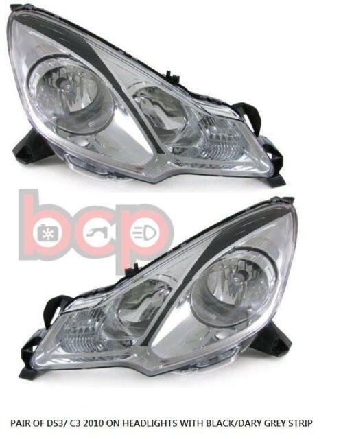 Citroen C3 2002-2005 Chrome Front Headlight Headlamp Pair Left /& Right