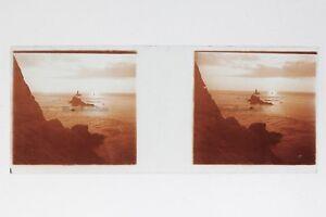 Francia Paesaggio Rocky la Mer Foto Stereo T2L8n1 Placca Da Lente Vintage