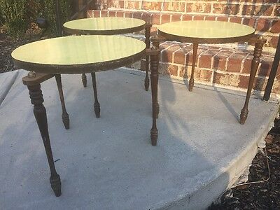 Vintage Mid Century Danish Modern Stacking Nest Tables Set (3) Side End  Yellow