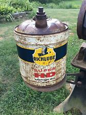 Vintage Richlube Super HD Motor Oil Rare Five Gallon Metal Can