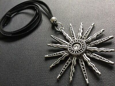 NAVY BLUE Long Suede necklace with a statement Antique Silver Star Burst pendant