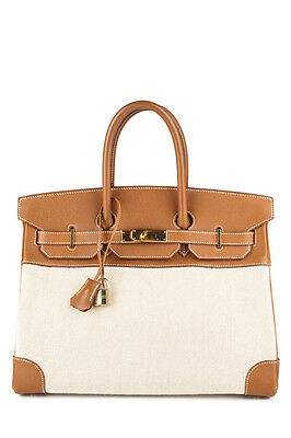 HERMES Gold Epsom Leather White Toile 35 cm Birkin Handbag EVHB