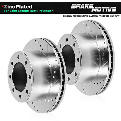 GMC Savana Sierra Yukon Perfit Liner Front Drilled and Slotted Pair Disc Brake Rotor for Chevrolet Express Avalanche Silverado Suburban Cadillac DeVille Hummer H2