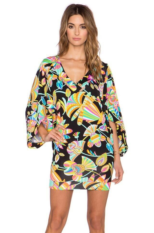 NWT  144 Sz Small S Trina Turk Tahitian Tunic Swim Cover Gorgeous