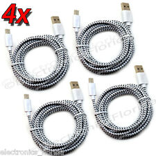 4x 3Ft White Micro USB Charger Cable Nylon Braided Sync for Samsung Galaxy LG