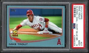 2013 Topps Update #27 MIKE TROUT Sliding-Wal-Mart Blue Border PSA 9 MINT